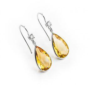 Dámske náušnice s prírodným citrínom a briliantami v bielom zlate Au 585/000