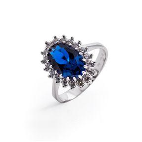Dámsky prsteň so syntetickým zafírom a zirkónmi