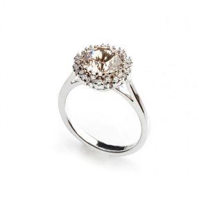 Dámsky prsteň so zlatým topásom a briliantami v bielom zlate Au 585/000